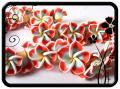 Fimo virág - 21x8mm - piros-kék