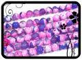 Achát golyó - 8,5mm - tűzachát - lila-pink 48db